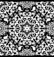 black and white paisley seamless mandala pattern vector image vector image