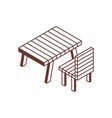 camping and picnic table isometric icon vector image vector image