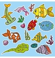 Cartoon Funny Fish Sea Life stickersColored vector image