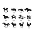 chinese horoscope zodiac animals symbols vector image vector image