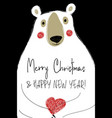 christmas greeting card with funny bear vector image