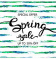 colorful watercolor striped poster spring sale vector image vector image