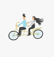 couple young people ride a double city bike vector image vector image