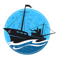 fishing boat silhouette on the wave vector image vector image