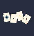 four aces winning poker hand isolated on black vector image