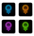 glowing neon female gender symbol icon isolated vector image vector image