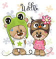 greeting card bears boy and girl on a flowers vector image vector image