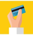 hand holds credit card save money icon vector image