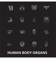 human body organs editable line icons set vector image