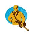 hunter hunting with shotgun rifle retro vector image