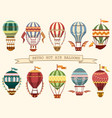 icons vintage hot air balloons with flags vector image