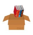 library pile books in carton box vector image vector image