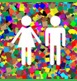 male and female sign white icon on vector image