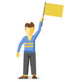 man with empty flag vector image vector image