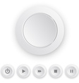 Media player white push button vector image vector image