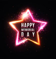 memorial day banner glowing stars background vector image