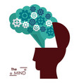 mind silhouette head brain gears success vector image vector image