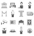 Museum Decorative Black Icons Set vector image