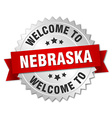 Nebraska 3d silver badge with red ribbon vector image vector image