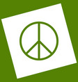 peace sign white icon vector image vector image