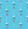 seamless pattern with yachts and lifebuoy in the vector image vector image