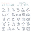 set line icons heavy athletics vector image
