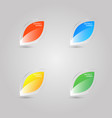 set of colored glass leaf icons on gray vector image vector image