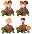 set of kid riding turtle vector image vector image