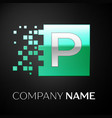 silver letter p logo symbol in the green square vector image vector image