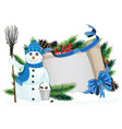 snowman with broom and bucket vector image vector image