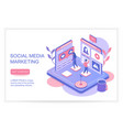 social media marketing infographics concept with vector image vector image