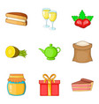 sweet life icons set cartoon style vector image vector image