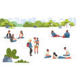 various people at park performing leisure outdoor vector image vector image