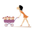 young woman with children in the stroller vector image
