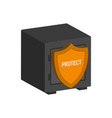 metal safe with shield financial protection vector image