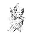 Sketch of fairy castle hand drawing with pencil vector image