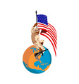 american soldier serviceman with rifle and flag on vector image vector image
