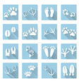 basic animal footprints flat shadow icon set eps10 vector image vector image