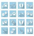 Basic animal footprints flat shadow icon set eps10 vector image