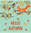 basic rgbautumn card with a squirrel and a bird vector image vector image
