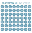 big multimedia icon set trendy line icons vector image vector image