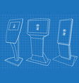 blueprint of set of interactive information kiosk vector image vector image