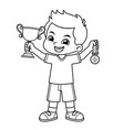 boy win the contest earn trophy and medal bw vector image vector image