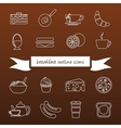 breakfast outline icons vector image vector image
