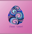 card of easter with graphic egg vector image vector image