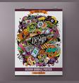 cartoon hand drawn doodles designer poster vector image