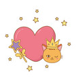 cat and wand with heart vector image vector image