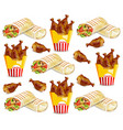 chicken wings and shawarma pattern fast vector image