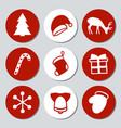 christmas and new year gift round stickers labels vector image vector image