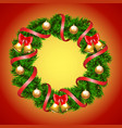 Christmas fir-tree wreath vector image vector image